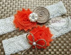 Rustic Garter,Wedding Garter Belt,Wedding garter Set,Bridal garter,Lace garter,Rustic wedding garter,Orange garter,Ivory Garter Burlap,bride