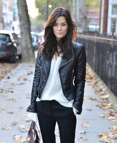 Leather jacket over neutral sweater