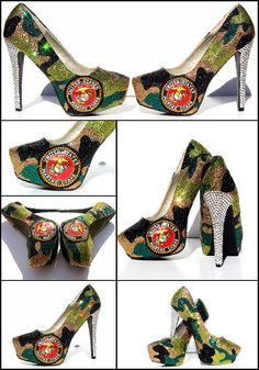 The Marines.What better way to pay honor to the armed forces then add these gorgeous patriotic pieces to your wardrobe. These shoes were inspired by a devoted mother of two courageous Marines. The camouflage artwork is hand-pa. Crazy Shoes, Me Too Shoes, Hot Shoes, Nylons, Marine Corps Wedding, Camouflage, Muses Shoes, Plateau Pumps, Shoe Art