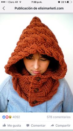 ZOMG I need to find the pattern for this - Lady Marion Spice Brown Hood  Super Soft Wool Hooded Cowl Hand Knit Cabled Hat Hood - My DIY Tips ec2408a2ad