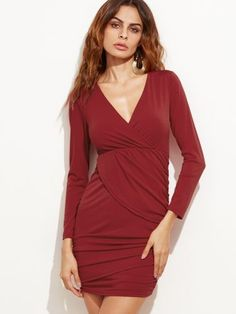 Burgundy Deep V Neck Ruched Sheath Dress