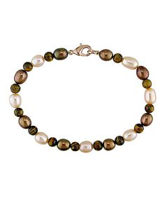 Take a look at this Peach Freshwater Rice Pearl & Tigereye Bracelet by Delmar on #zulily today!