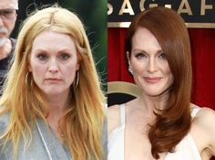 Julianne Moore from Celebrities' Changing Hair Color Talk about transformation: Moore went blond—strawberry blond, to be exact—while on the set of her new film Maps to the Stars in Toronto. Mom Hairstyles, Celebrity Hairstyles, Red Head Celebrities, Pink Hair, Red Hair, Cool Hair Color, Hair Colors, Colours, Color Type
