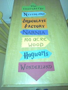 My preparation to decorate the classroom library. Signpost fictional places, children`s books.