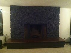 How to paint a Lava Rock fireplace! Best thing we ever did! @Barbara Barrett