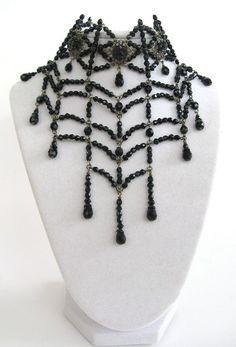 Black widow spider web choker necklace by DreadfulPleasures