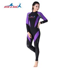 DIVE&SAIL Offical Store WDS-4127 women 1.5mm neoprene back zipper wetsuits Surf Suit long Sleeve warm diving suits