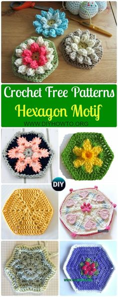 Collection Crochet Hexagon Motif Free Patterns: Solid Hexagon, African Flower, Daffodil, flower, snowflake, puff, bobble, mandala Hexagons