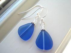 Cobalt Blue Earrings  Sea Glass Earrings  Blue by Sparkleandswirl