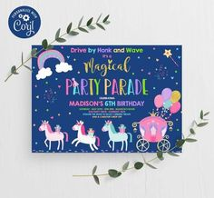 Editable Drive By Birthday Parade Invitation Unicorn Drive Through Birthday Unicorn Drive Thru Social Distancing Birthday Party Instant EP Girls Birthday Party Themes, Unicorn Birthday Parties, Girl Birthday, Happy Birthday Bear, Happy Birthday Banners, Baby Shower Invitations, Birthday Invitations, Diy Party Supplies, Party Banners