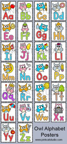 These fun owl theme posters will look fantastic on your classroom wall! The bright colors and fun owl characters will have your students excited to practice their A, B, C's. By Pink Cat Studio Owl Theme Classroom, Classroom Walls, Kindergarten Classroom, Kindergarten Activities, Classroom Ideas, Classroom Teacher, Owl Writing, Owl Activities, Owl Parties