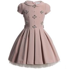 Monnalisa Dusky Pink Diamante Couture Dress at Childrensalon.com