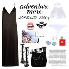 """""""How to Style a Black Silk Dress with Black Gladiator Sandals for Vacation to Sorrento"""" by outfitsfortravel ❤ liked on Polyvore featuring Avon, Thom Browne, Raey, Raye, The Beach People, Gucci, Zimmermann, Anne Sisteron, Murphy and Monday"""