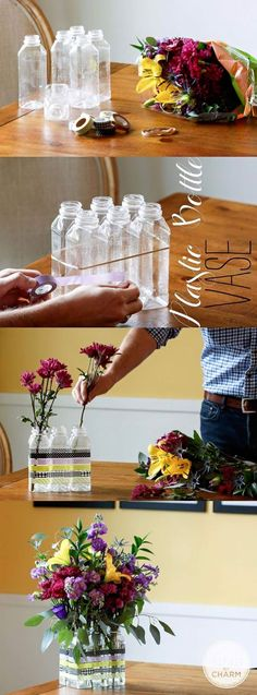 Use bottles to create a cute vase!