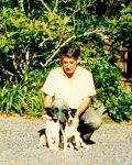 Roland Sansom with canine companions, Vixen and Venus.