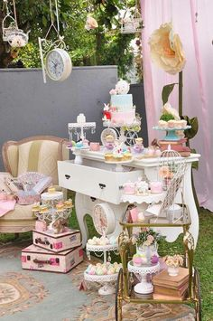 vintage party Pedestals, lace, sweets, and more from Vintage Alice in Wonderland Birthday Party at Karas Party Ideas. Alice In Wonderland Tea Party Birthday, Alice Tea Party, Tea Party Theme, Alice In Wonderland Birthday, Wonderland Party, Birthday Party Decorations, Baby Shower Decorations, Party Hats, Alicia Wonderland