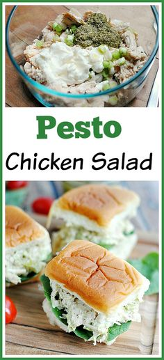 Easy Pesto Chicken Salad - This is a really nice change from your typical chicken salad! You can serve it on the bread of your choice or simply serve over a salad for a lighter meal. Rezept einfach in Dosen Pesto Chicken Salads, Chicken Salad Recipes, Pesto Salad, Pesto Chicken Salad Sandwich Recipe, Sandwich Recipes, Vegetarian Recipes, Cooking Recipes, Healthy Recipes, Vegan Vegetarian