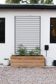 DIY Fence Panel Trellis - This modern DIY trellis is made from an in-stock fence panel! In just 5 steps you can have this ready for your favorite climbers! Backyard Patio, Backyard Landscaping, Backyard Planters, Planters On Fence, Outdoor Wall Planters, Backyard Layout, Black Planters, Backyard Ideas, Outdoor Spaces