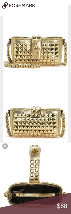 Juicy couture Gold Studded mini crossbody bag Juicy Couture STUDDED MINI CROSSBODY $168.00  All that glitters is gold with the Studded Mini Crossbody bag in all its gilded glory. Wear it to your next soireé and be the star of the party. Stunning in person! Brand new w tags! Juicy Couture Bags Crossbody Bags
