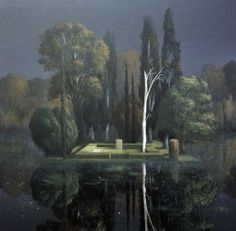 "Painting by Arnold Böcklin: ""Stèle Funéraire"", Great Paintings, Original Paintings, Landscape Art, Landscape Paintings, Landscapes, Willem De Kooning, Illustration Art, Illustrations, Gustav Klimt"