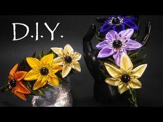 D.I.Y. Kanzashi Headband | MyInDulzens - YouTube Diy Lace Ribbon Flowers, Kanzashi Flowers, Ribbon Art, Ribbon Crafts, Fabric Ribbon, Flower Crafts, Fabric Flowers, Making Hair Bows, Diy Hair Bows