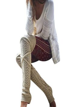 Sexy Thigh High Over Knee Socks Women Knitted Woolen Stockings Winter Warm Long Bandage Hollow Out Leg Warmers meias Over Knee Socks, Over The Knee Boots, Knit Leg Warmers, Boots And Leggings, Stockings Legs, Knit Boots, Thigh Highs, Hosiery, Sexy