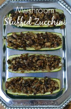 Mushroom Stuffed Zucchini - These are an amazing and healthy little side!  LuvaBargain.com
