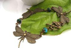 Steampunk style dragonfly bracelet gemstone £17.00
