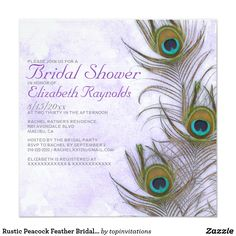Rustic Peacock Feather Bridal Shower Invitations Rustic peacock feather bridal shower invite design! Rustic peacock feather bridal shower decor! Rustic peacock feather everything! Take a look at these amazing peacock feather invitations for bridal showers available at Zazzle. Enjoy the do it yourself experience by customizing the invitation card template with any of your bridal shower information and details. Don't waste your time with the cheap looking kits and order these peacock feather…