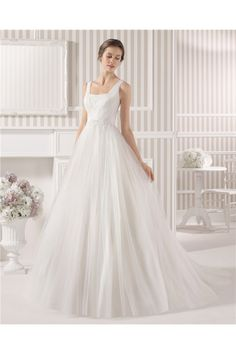 Simple A Line Princess Square Neck Open Back Lace Tulle Wedding Dress With Straps