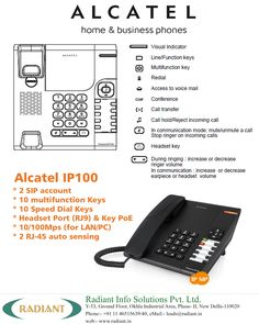 ALCATEL Home and Business Phone - Alcatel IP100.  #Alcatel #IP #Phone #India #Voip #HomePhone #BusinessPhone #AlcatelPhones #BusinessPhoneSystems