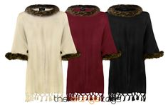 WOMENS FAUX FUR PONCHO LADIES CAPE WRAP COAT TRIM BUTTON SHAWL