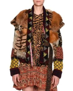 B3WH7 Etro Mixed-Fur Vest