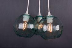 Vintage glass floats pendant chandelier - hanging light - marine buoy - antique glass - hand blown glass lamp