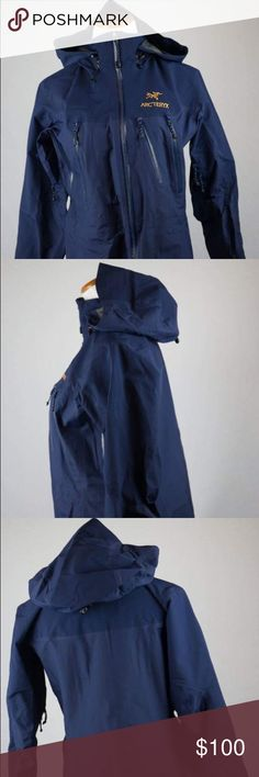 Arc'Teryx Women's Zip Up Coat with good This dark blue Gore-Tex Arc'Teryx zip up coat with hood is a small. Great for outdoor activies and various weather conditions and will keep you warm! Bottom area around draw string is out of the seam as seen in picture. Seam has come loose. SKU in warehouse is # 848. Arc'teryx Jackets & Coats