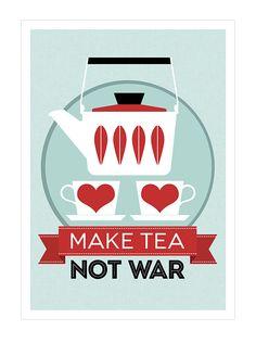 Catherineholm poster print - Make Tea Not War - 50 x 70 cm poster red Mid Century Modern retro kitchen tea. $55,00, via Etsy.