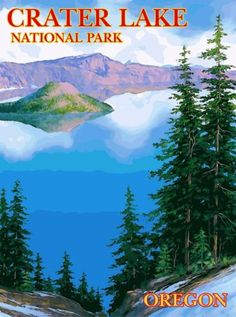 Crater-Lake-National-Park-Oregon-United-States-Travel-Poster-Advertisement-3