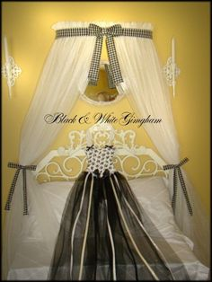 Crib Canopy Crown Princess Bed with WHITE sheers INCLUDED Polka dot pink bow teester coronet cornice shelf home decor nursery baby cribSALE Princess Canopy Bed, Custom Canopy, Bed Crown, White Sheer Curtains, New Beds, Queen Size Bedding, Cribs, Cornice, Valance