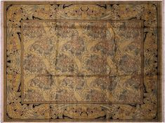 William Morris Pak-Persian Enif Gold/Blue Hand-Knotted Rug (9'2 x 12'3)