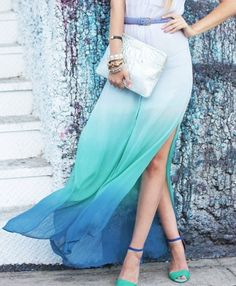 gorgeous ombré white to blue maxi skirt