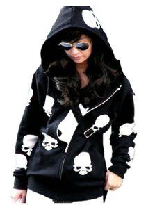 Amazon.com: Yazilind Black Skull Patterns Women Zipper Long Sleeves Hot Hoodie Coat Jacket: Clothing