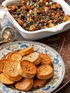 Lemon-Glazed Sweet Potatoes and Corn Bread Stuffing #recipes.