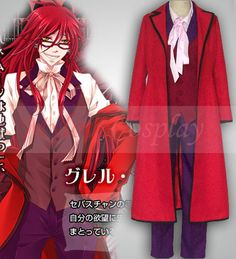 Black Butler Grelle Sutcliffe Cosplay Costume Red
