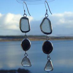 Loch Fyne Sea Glass, Pebble, Water Drop Earrings - Fyne Silver