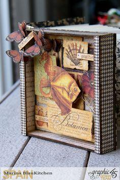 Shadow box album Botanicabella Tutorial by Marina Blaukitchen Product by Graphic 45