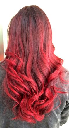Red balayage ombré Balayage by Emilee @hairb0rn Miami stylist