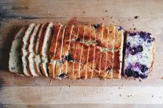 Meyer lemon blueberry yogurt pound cake, infused with earl grey tea leaves.