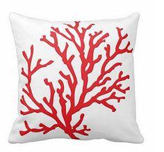 Koralle rot Accent Kissen 45x 45cm Standard Größe mit Reißverschluss Kissenbezug für Sofa Deko