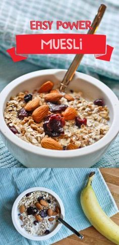 This Camping Breakfast is an Easy Power Muesli, a mixture of rolled oats and various nuts, fruit, and other cereals.  It's vegan, protein packed, and a fabulous pre-hike breakfast.  #camping #recipe #breakfast #cereal #easy #nocook via @champagneta0249