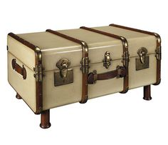 Sweet luggage! A coffee table that would make Joe Banks jealous I'm sure. I can see repurposing a lot of things this way. $570 #coffee #table #luggage #suitcase #steampunk #furniture